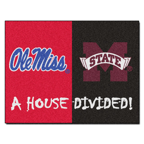 Mississippi - Mississippi State NCAA House Divided Rugs 33.75x42.5 - FANMATS - Dropship Direct Wholesale