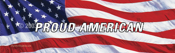 Window Graphic - 20x65 US Flag 2 with Proud American - ClearVue Graphics - Dropship Direct Wholesale