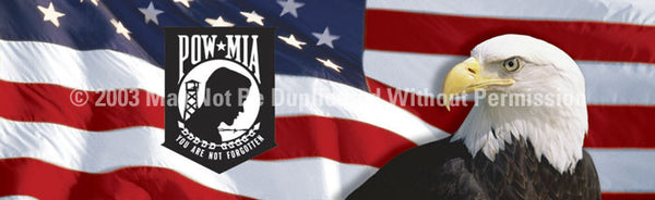Window Graphic - 16x54 US Flag 1 with POWMIA - ClearVue Graphics - Dropship Direct Wholesale