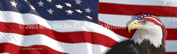 Window Graphic - 16x54 US Flag 1 with Eagle & Bandana for Slider Windows - ClearVue Graphics - Dropship Direct Wholesale