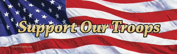 Window Graphic - 20x65 US Flag 2 Support Our Troops - ClearVue Graphics - Dropship Direct Wholesale