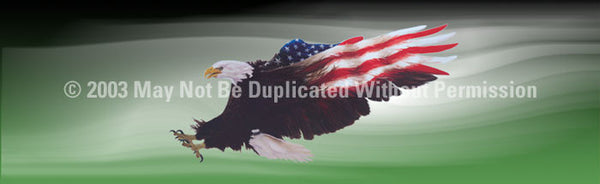 Window Graphic - 20x65 Wings of Freedom Green - ClearVue Graphics - Dropship Direct Wholesale