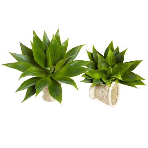 17in Agave Succulent Plant (Set of 2) - Nearly Natural - Dropship Direct Wholesale