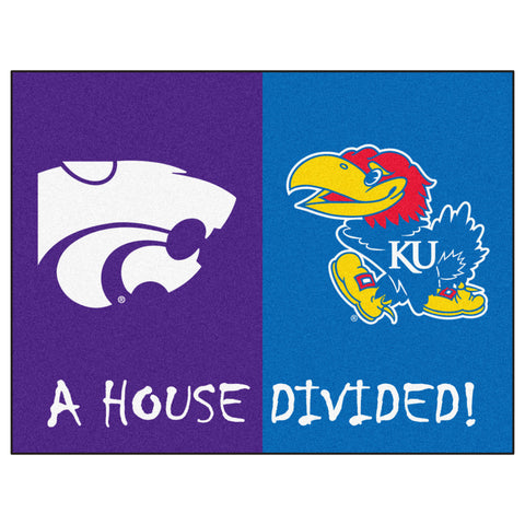 Kansas - K-State NCAA House Divided Rugs 33.75x42.5 - FANMATS - Dropship Direct Wholesale