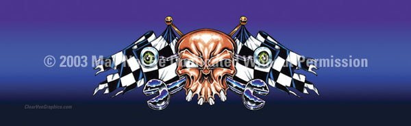Window Graphic - 16x54 Racing Skull - ClearVue Graphics - Dropship Direct Wholesale