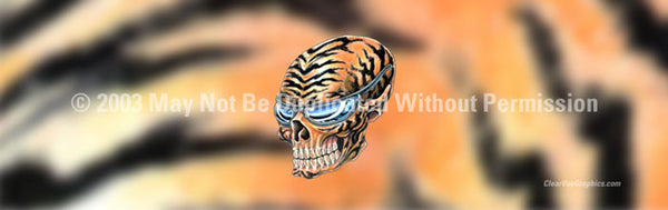 Window Graphic - 16x54 Skull on Tiger Tattoo - ClearVue Graphics - Dropship Direct Wholesale