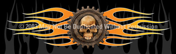 Window Graphic - 16x54 Gear Skull - ClearVue Graphics - Dropship Direct Wholesale
