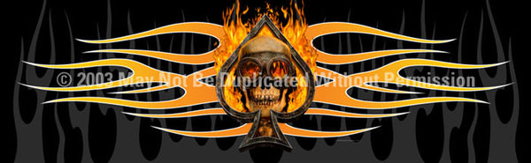 Window Graphic - 16x54 Flaming Ace Skull - ClearVue Graphics - Dropship Direct Wholesale
