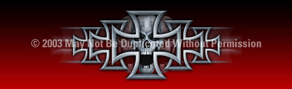 Window Graphic - 16x54 Iron Cross Red - ClearVue Graphics - Dropship Direct Wholesale