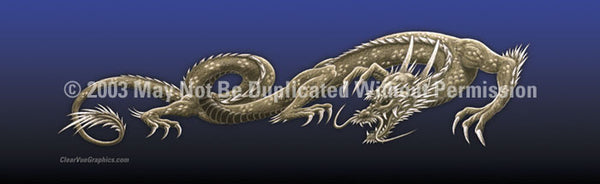 Window Graphic - 16x54 Dragon Tattoo Blue - ClearVue Graphics - Dropship Direct Wholesale
