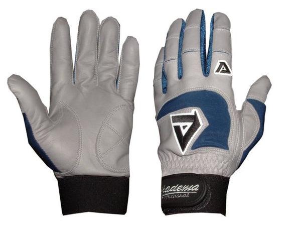 Akadema Grey/Royal Blue Professional Batting Gloves Small - Akadema - Dropship Direct Wholesale