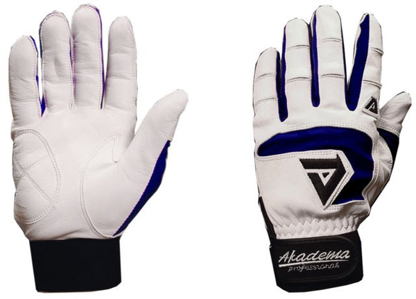Akadema White/Navy Professional Batting Gloves Medium - Akadema - Dropship Direct Wholesale