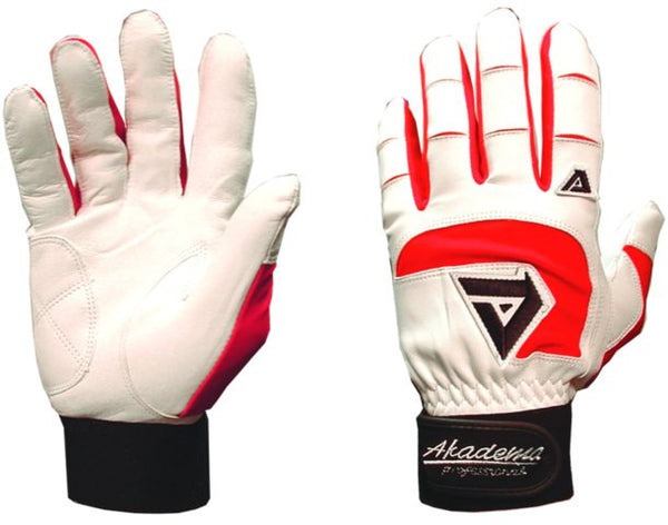 Akadema White/Red Professional Batting Gloves XS - Akadema - Dropship Direct Wholesale