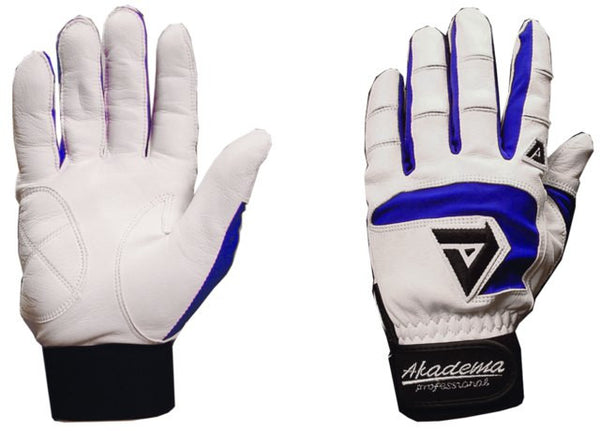 Akadema White/Royal Blue Professional Batting Gloves Medium - Akadema - Dropship Direct Wholesale