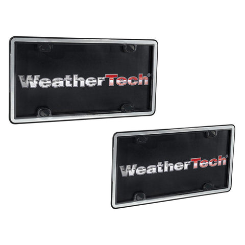 Brushed Stainless/Black ClearFrame License Plate Frame - WeatherTech - Dropship Direct Wholesale