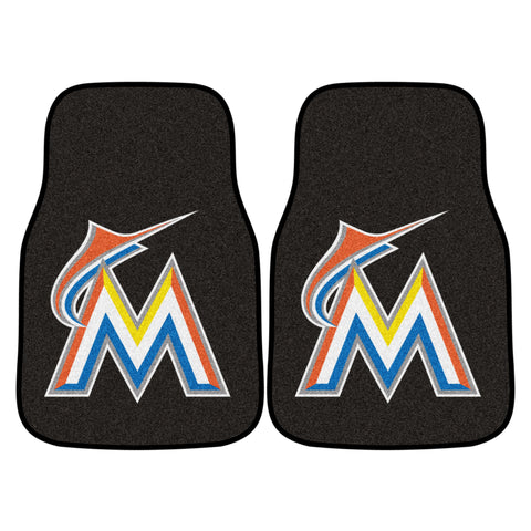 Miami Marlins 2-piece Carpeted Car Mats 17x27