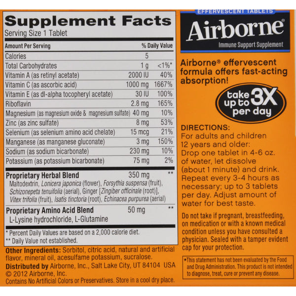Airborne Effervescent Tablets with Vitamin C - Zesty Orange - 10 Tablets - Airborne - Dropship Direct Wholesale - 2