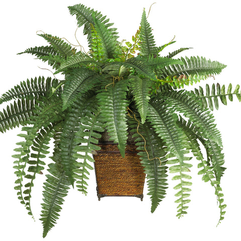 Boston Fern w/Wood Wicker Basket Silk Plant - Nearly Natural - Dropship Direct Wholesale