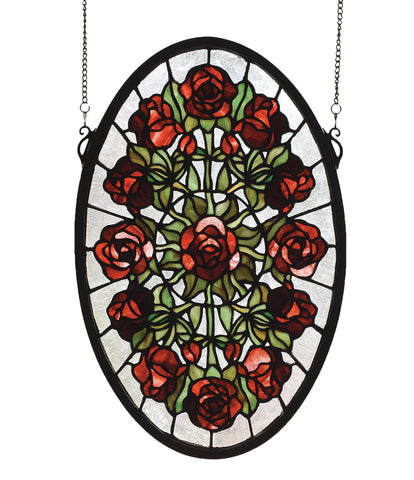 11 Inch W X 17 Inch H Oval Rose Garden Stained Glass Window - Meyda - Dropship Direct Wholesale