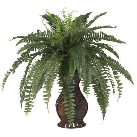 Boston Fern w/Urn Silk Plant - Nearly Natural - Dropship Direct Wholesale