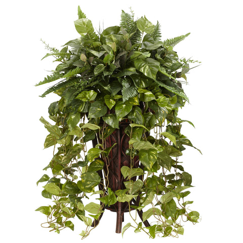 Vining Mixed Greens w/Decorative Stand Silk Plant - Nearly Natural - Dropship Direct Wholesale