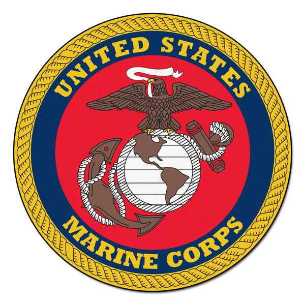 Marines Licensed Round Rug 44 diameter - FANMATS - Dropship Direct Wholesale