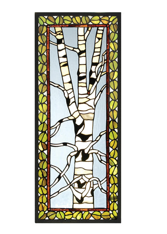 10.5 Inch W X 25.75 Inch H Birch Tree In Winter Stained Glass Window - Meyda - Dropship Direct Wholesale