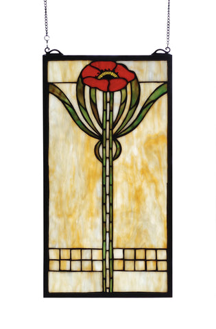 11 Inch W X 20 Inch H Parker Poppy Stained Glass Window - Meyda - Dropship Direct Wholesale