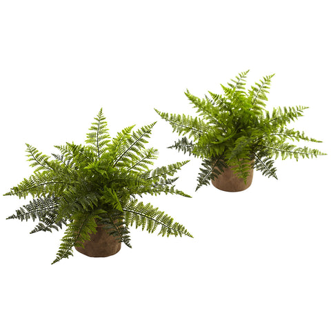 15in Ruffle Fern Bush w/Burlap Base (Set of 2) - Nearly Natural - Dropship Direct Wholesale