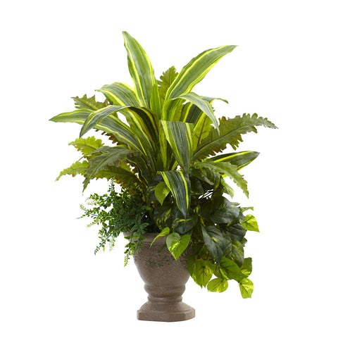 25in Mixed Yucca Marginatum Pothos & Bracken w/Planter - Nearly Natural - Dropship Direct Wholesale