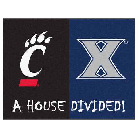 Xavier / Cincinnati NCAA House Divided Rugs 33.75x42.5 - FANMATS - Dropship Direct Wholesale