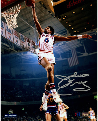 Julius Erving Philadelphia 76ers Dunking Signed 8x10 Photo