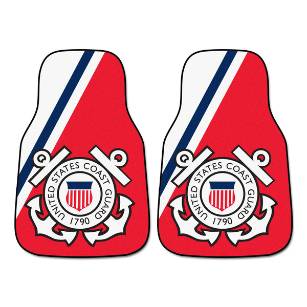 Coast Guard Licensed 2-piece Carpeted Car Mats 17x27 - FANMATS - Dropship Direct Wholesale