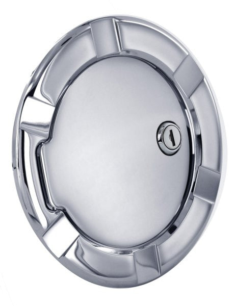 All Sales Striker Style Billet Fuel Dr 6 5/16 Ring O.D. 4 1/2 Door O.D.-Brushed Chrome Locking - AMI - Dropship Direct Wholesale