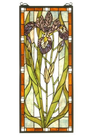 12 Inch W X 28 Inch H Iris Stained Glass Window - Meyda - Dropship Direct Wholesale