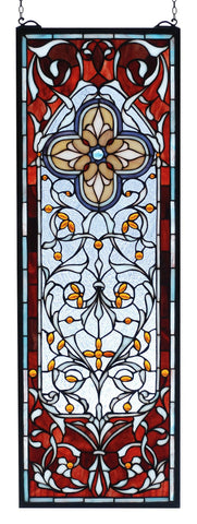 11 Inch W X 32 Inch H Versaille Quatrefoil Stained Glass Window - Meyda - Dropship Direct Wholesale