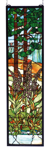 12 Inch W X 44 Inch H Tiffany Foxgloves Stained Glass Window - Meyda - Dropship Direct Wholesale