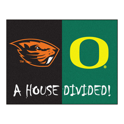 Oregon - Oregon State NCAA House Divided Rugs 33.75x42.5 - FANMATS - Dropship Direct Wholesale