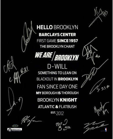 Brooklyn Nets Team Signed 16x20 Subway sign with Herringbone 12 Sig