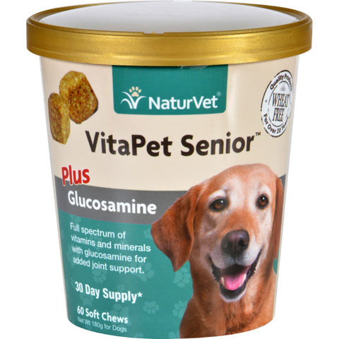 NaturVet Vitapet - Plus Glucosamine - Senior - Dogs - Cup - 60 Soft Chews - Naturvet - Dropship Direct Wholesale - 1