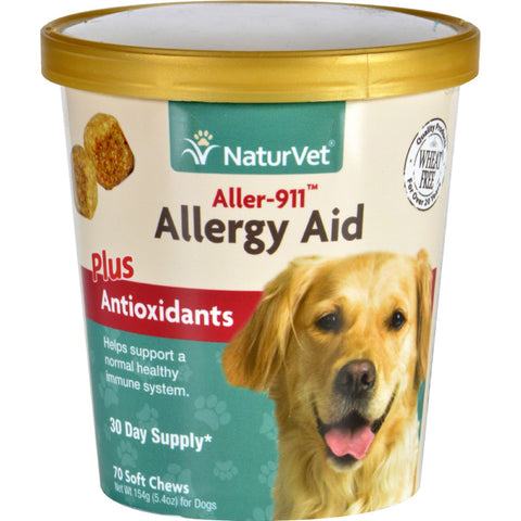 NaturVet Allergy Aid - Plus Antioxidants - Aller-911 - Dogs - Cup - 70 Soft Chews - Naturvet - Dropship Direct Wholesale - 1