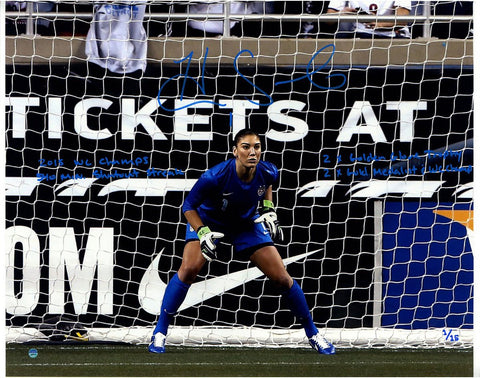Hope Solo Signed In Goal 16x20 Photo w/ 2015 USA World Cup Champions Other Inscrip LE/15