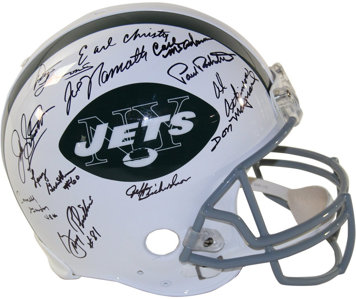 1969 New York Jets Team Signed Authentic 65-77 Throwback Helmet 24 Signatures