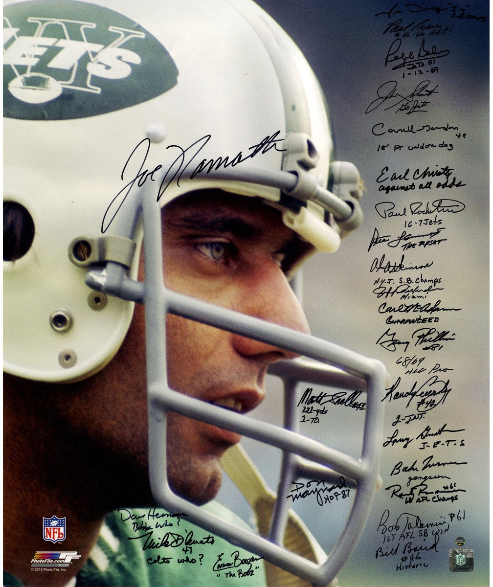 1969 New York Jets Team Signed Joe Namath Close Up Wearing Helmet 20x24 Metallic Photo 24 Signatures With Inscription By 23 Players
