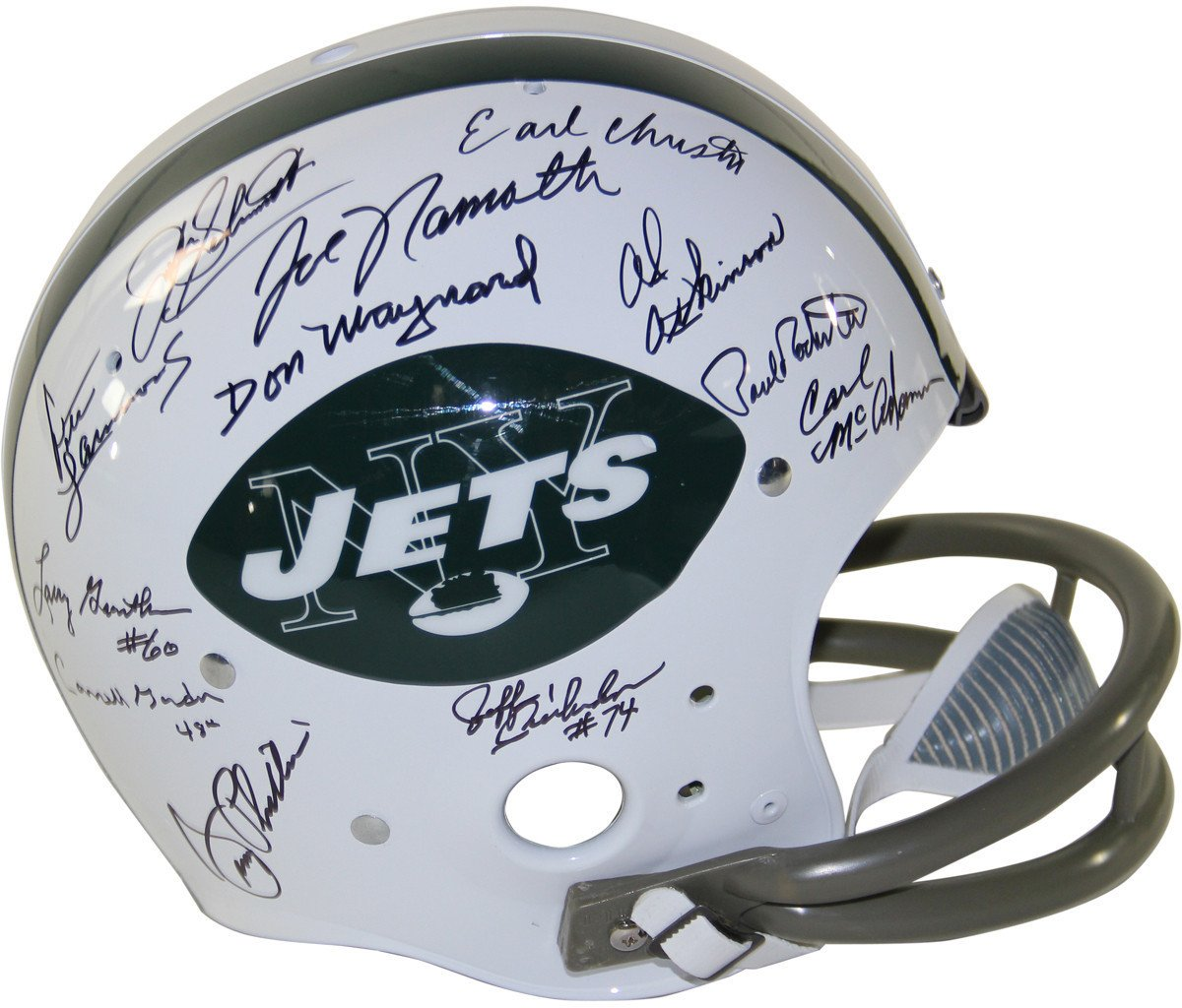 1969 New York Jets Team Signed Replica TK Style 65-77 Throwback Helmet 2-Bar Facemask 24 Signatures