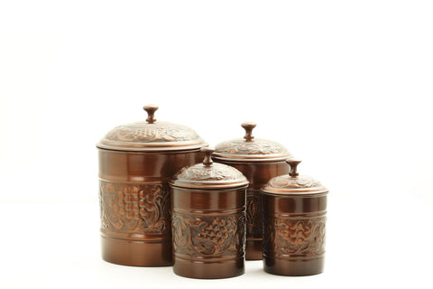 Set of 4 Antique Embossed Canisters 4Qt/2Qt/1.5Qt/1Qt - Old Dutch - Dropship Direct Wholesale