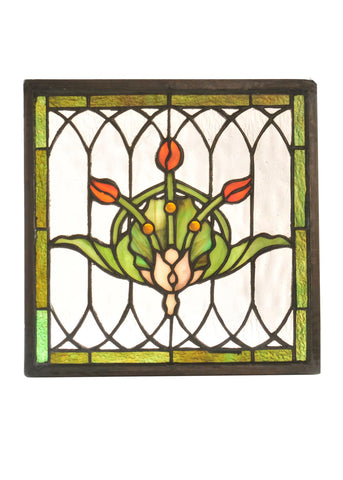 10.5 Inch W X 10.5 Inch H Tulip & Fleurs Stained Glass Window - Meyda - Dropship Direct Wholesale