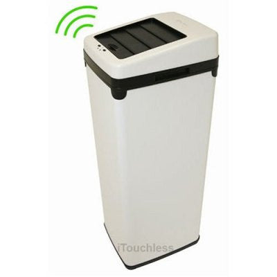 iTouchless 14 Gallon White Steel Automatic Sensor Touchless Trash Can with Space Saving Lid - iTouchless - Dropship Direct Wholesale