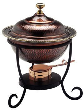 12 x 15 Round Antique Copper Chafing Dish 3 Qt - Old Dutch - Dropship Direct Wholesale