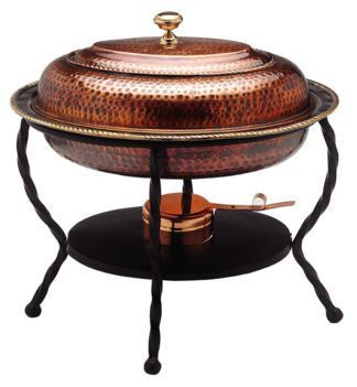 16.5 x 12.5 x 18 Oval Antique Copper Chafing Dish 6 Qt - Old Dutch - Dropship Direct Wholesale